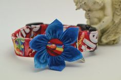 Sweet Skittles Print Pet Dog Collar with Flower by HaleyPetBoutique.etsy.com