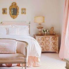love the pink and white but the gaudy gold pieces and the over the top night stand dont cut it with me.  Pink/French/feminine!