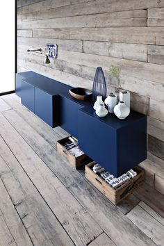 asymmetric cabinets + dark blue