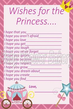 Have your baby shower guests write down their wishes for baby with these princess themed activity cards! Great for making a shower scrapbook or to put in the baby book! $5.00 #princess #baby #shower #wish #wishes #game #activity #printable