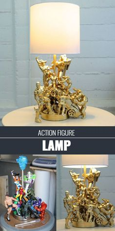 An old lamp + action figures = the coolest kid's lamp ever.