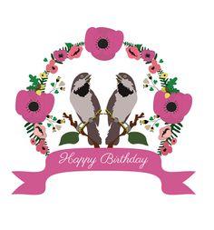 Birthday card, bird illustration