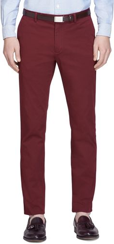 $69, Slim Fit Lightweight Cotton Chinos by Brooks Brothers. Sold by Brooks Brothers. Click for more info: http://lookastic.com/men/shop_items/148013/redirect