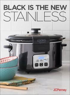 Tap to shop!// The best thing about the color black? It complements everything and never goes out of style. The best thing about a slow cooker? It does all the work for you. Invest in the best of both worlds. Shop for more all-new black stainless kitchen appliances priced to buy and made to last.