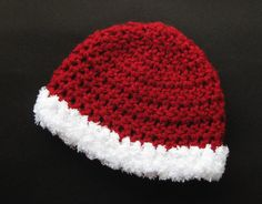 Santa Baby Hat, Newborn Photography Photo Prop, Christmas Boy Girl Hat, Red Cap White Trim, Crochet Infant Beanie Gender Neutral Winter Hat on Etsy, $17.00
