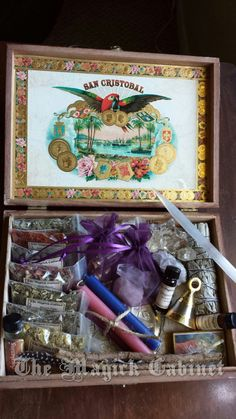 Large Witches Box Traveling Altar full of herbs, crystals, selenite wand, oils…