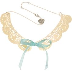 Tatty Devine Lace Doily Collar Necklace (185 AUD) ❤ liked on Polyvore featuring jewelry, necklaces, accessories, collars, blue, collar jewelry, tatty devine, blue necklace, blue jewelry and collar necklace