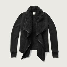 Womens Sherpa Non Closure Pocket Cardigan