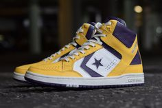 Before you get too excited, these are not actually scheduled to release (at least not yet). Converse has recreated the era classic Weapon. Yes, the sho Custom Converse, Converse Shoes, Converse Weapon, Sneaker Magazine, John Varvatos, Converse Chuck Taylor All Star, Nike Basketball, Los Angeles Lakers, Blue Shoes