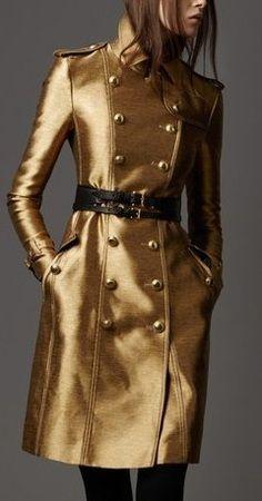 Burberry Prorsum Gold Metallic Trench Coat