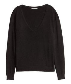 V-neck Cashmere Sweater | Black | Ladies | H&M US