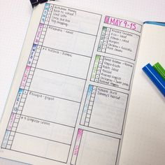 Half-blocks for weekends, right side of page as running task list with mini calendar grid at the bottom.