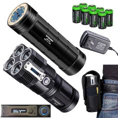 NITECORE Tiny Monster TM26 QuadRay 3800 Lumen Quad CREE XML2 LED Flashlight  Searchlight with Nitecore NBP52 rechargeable battery pack and 8 X EdisonBright CR123A Lithium batteries Package >>> You can get more details by clicking on the image.