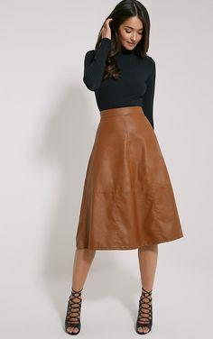 https://www.prettylittlething.com/alison-tan-faux-leather-a-line-midi-skirt.html
