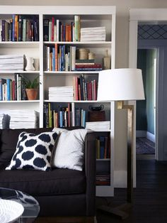 Couch and White Bookcase