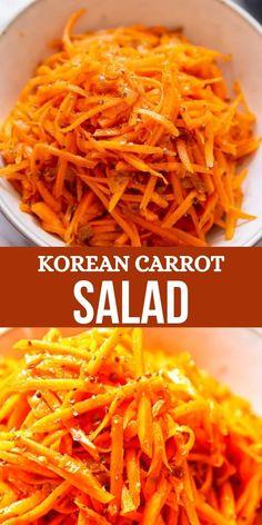 Side Dish Recipes, Asian Recipes, Healthy Korean Recipes, Vegetarian Recipes, Cooking Recipes, Carrot Salad Recipes, Vegetable Recipes, Grated Carrot Salad, Korean Food Side Dishes