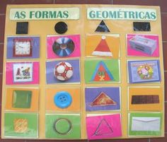 Aprendizagem Afetiva: DESENHOS E ATIVIDADES SOBRE FORMAS GEOMÉTRICAS Montessori, Back To School, Shapes, Children, Frame, Crafts, Homeschooling, Scrap, Bonding Activities