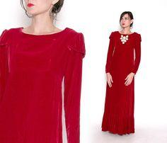Vintage 70s Red Velvet Maxi Dress / Formal Dress / by VintageSpins