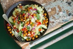Thai-Inspired Hydrating Cucumber Salad with Roasted Spiced Chickpeas—lettuce-free and loving it.