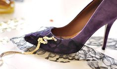 * Katie Holmes + In Style Magazine Editorial + August 2011 wearing Dolce and Gabbana Fall 2011 jeweled silk embroidery pumps, price upon request.      * Suede pumps ...fabric will do as well.  These fabrics will hold glue  the best. I was looking for black but all I could find in such short  n