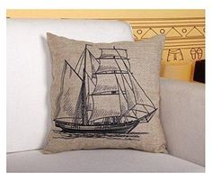 Nautical Cotton Linen Pillow Cover- Antique Boat Cushion Cover-throw Pillow Cover Pillow Cover