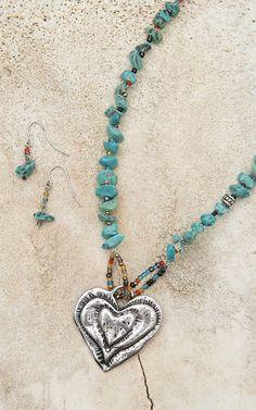Blazin Roxx® Women's Silver Heart with Turquoise Stones Necklace & Earrings Set 30356
