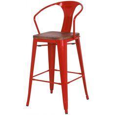 Tolix Metal Bar Stool Wood Seat, Red | Memoky.com