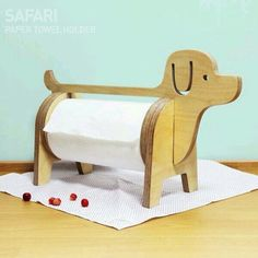 Paper dispenser, needing a laser-cut redesign! - Diy Home Crafts Small Wood Projects, Projects To Try, Wooden Crafts, Diy And Crafts, Paper Towel Holder, Diy Holz, Wood Toys, Wood Design, Wood Art