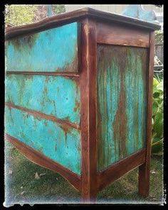 sk s copper patina and oak bath vanity, bathroom ideas, chalk paint, painted furniture, painting, woodworking projects #repurposedfurniturebedroom
