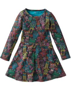 This soft jersey dress features a quirky monster print, flared skirt and long sleeves. By Oilily.