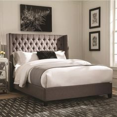 Scott Living Benicia Upholstered King Bed With Demi Wings And Button Tufting    Coaster Fine