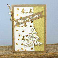 Tyylikkäät joulukortit valmistat kullanvärisistä ääriviivatarroista, kimallepaperista, kultafolioidusta kuviopaperista yhdistettynä ekohenkiseen korttipohjaan. Advent Calendar, Holiday Decor, Frame, Christmas, Cards, Home Decor, Picture Frame, Xmas, Decoration Home