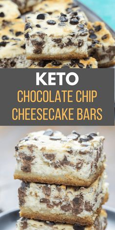 These Keto Chocolate Chip Cheesecake Bars are creamy, dreamy and low carb! At ju… These Keto Chocolate Chip Cheesecake Bars are creamy, dreamy and low carb! At just one net carb per bar, these sweet treats won't break your keto diet. Chocolate Chip Cheesecake Bars, Keto Chocolate Chips, Keto Cheesecake, Chocolate Food, Pumpkin Cheesecake, Low Calorie Cheesecake, Low Calorie Chocolate, Turtle Cheesecake Recipes, Keto Chocolate Mousse