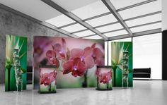 Creative graphic design using portable trade show displays and lambda graphics