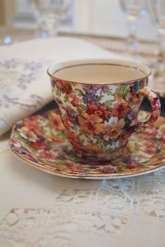 A lovely chintz pattern - unusual red, orange & brown colours