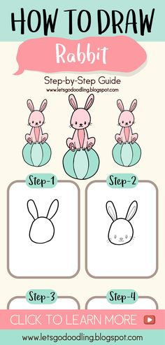 how to draw cute rabbit easy step by step for kids letsgodoodling