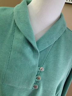 # 104 CROFT & BARROW Womens Plus 1X Long Sleeve Ribbed Knit Top Green 3 button  #CROFTBARROW #KnitTop #Casual
