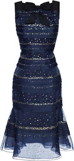 Carolina Herrera Sequin Silk Organza Dress - Lyst
