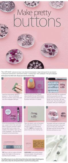 Make pretty buttons | Boutons  en plastique fou / plastique dingue