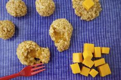 Easy, fun and fast! Brown rice balls stuffed with a piece of gooey melted cheese is a heavenly treat for kids and adults.