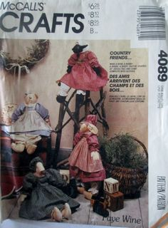 McCalls Crafts 4089 20 inch stuffed animal 80s doll pattern with clothes rabbit bear goose lamb by Denisecraft on Etsy