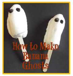 How to make frozen banana ghosts.  Healthy #Halloween treats for kids. Alternatively, use coconut yogurt and dark chocolate chips for a vegan treat.