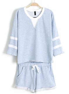 Blue Long Sleeve Striped Top With Drawstring Shorts -