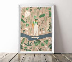 Girl riding longboard in the park poster. Digital Download