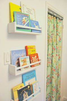 Skinny spice racks (these are from IKEA) are easy to hang, and keep kids' bedtime stories handy. Plus, the colorful covers make for instant wall art. See more at The Sweetest Digs » - WomansDay.com