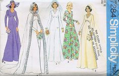 Bridal Bridesmaid Dress Sewing Pattern 70s Simplicity 7284 Size 12 Bust 34 Cut | eBay