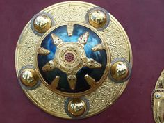 Shield Boss -- Century -- Excavated from the Anglo-Saxon burial ship discovered at the English estate of Sutton Hoo in Photo courtesy of the British Museum. Medieval Jewelry, Viking Jewelry, Ancient Jewelry, Medieval Art, Vanitas, Anglo Saxon History, Alexandre Le Grand, Sutton Hoo, Ancient Armor