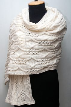 Knitted aran wrap, natural white wrap, Irish style, woman aran scarf, cable wrap, knitted tippet, knitted scarf, knitted shawl by SanniKnitting on Etsy