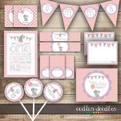 Birthday Bunny Party Kit / Pink & Purple Easter, Spring Girl's Birthday / Bunny, Rabbit Party for Any Age - Printable Party Package Bunny Birthday, Birthday Party Hats, First Birthday Parties, Girl Birthday, First Birthdays, Birthday Ideas, Birthday Decorations, Bunny Party, Easter Party
