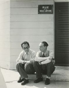 Man Ray and Marcel Duchamp Seated on a Curb, Hollywood, 1949 Such great minds, creative people- where their minds go.